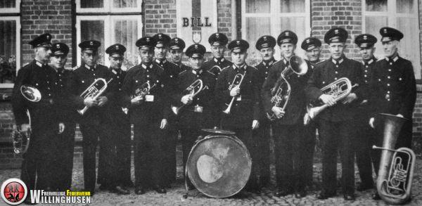 Gruppenbild von dem Musikzug aus dem Jahr 1950